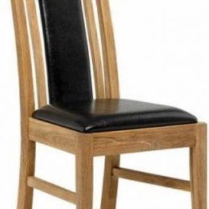Ruokapöydän tuoli Katariina öljytty tammi/musta Pu