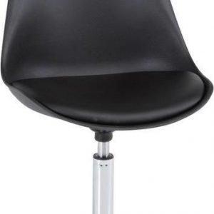 Ruokapöydän tuoli Markku musta keinonahka/kromi