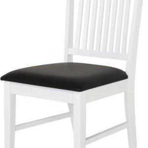 Ruokapöydän tuoli Orvokki valkoinen musta keinonahka
