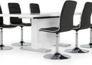 Ruokapöytä Hans Siw tuoleilla korkeakiiltoinen valkoinen