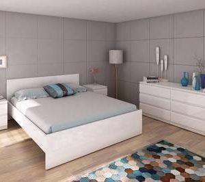 Sängynrunko Siiri 140x190 korkeakiiltoinen valkoinen