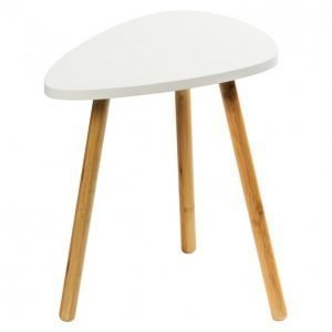 Sivupöytä 46x30cm Valkoinen Mdf / Bambu