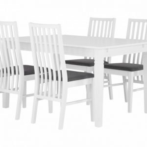Sjövik Pöytä 140 Valkoinen + 4 Alvesta Tuolia Valkoinen/Harmaa