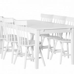 Sjövik Pöytä 180 + 6 Saltvik Tuolia Valkoinen