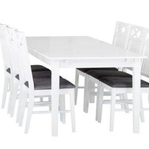 Sjövik Pöytä 180 + 6 Tuolia Valkoinen/Harmaa