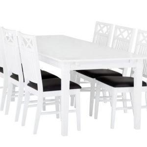 Sjövik Pöytä 180 + 6 Tuolia Valkoinen/Musta