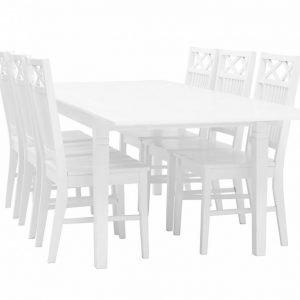 Sjövik Pöytä 180 + 6 tuolia Valkoinen