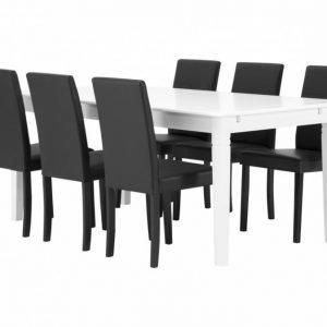 Sjövik Pöytä 180 Valkoinen + 6 Abisko Tuolia Musta