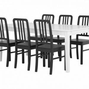 Sjövik Pöytä 180 Valkoinen + 6 EVElina Tuolia Musta