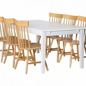 Sjövik Pöytä 180 Valkoinen + 6 Saltvik Tuolia Tammi