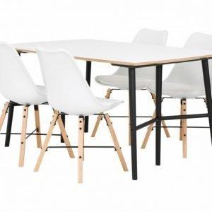Sofia Pöytä 150 Valkoinen/Musta + 4 Shello Tuoli Valkoinen/Tammi