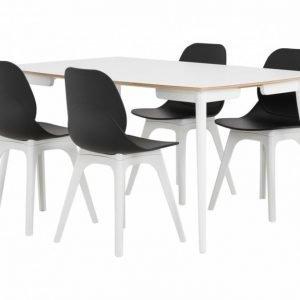 Sofia Pöytä 150 Valkoinen/Valkoinen + 4 Oculus Tuoli Musta/Valkoinen