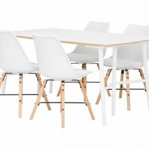 Sofia Pöytä 150 Valkoinen/Valkoinen + 4 Shello Tuoli Valkoinen/Tammi