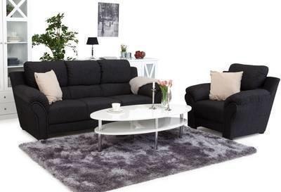 Sohvaryhmä Janina kolmen istuttava sohva+lepotuoli musta/harmaa