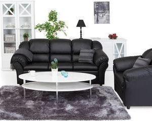 Sohvaryhmä Paula kolmen istuttava + nojatuoli musta