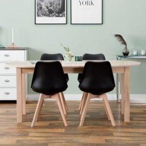 Strömstad Pöytä 140 Luonnonvärinen + 4 Peace Tuolia Musta/Tammi