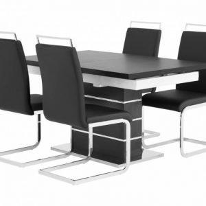 Sunne Pöytä 140 Musta/Valkoinen + 4 Gannan Tuolia Musta
