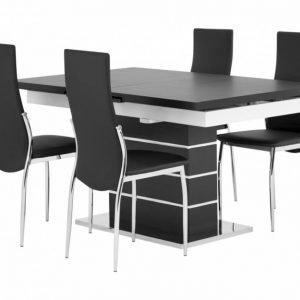 Sunne Pöytä 140 Musta/Valkoinen + 4 Lagan Tuoli Musta