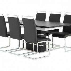 Sunne Pöytä 140 Musta/Valkoinen + 6 Gannan Tuolia Musta