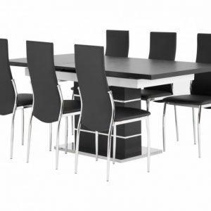 Sunne Pöytä 140 Musta/Valkoinen + 6 Lagan Tuoli Musta