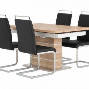 Sunne Pöytä 140 Tammi/Valkoinen + 4 Gannan Tuolia Musta