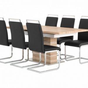 Sunne Pöytä 140 Tammi/Valkoinen + 6 Gannan Tuolia Musta