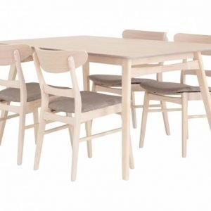 Vanessa Pöytä 150 Luonnonväri + 4 Tuolia Tummanharmaa