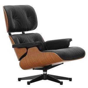 Vitra Lounge Chair Nojatuoli American Cherry Musta Nahka