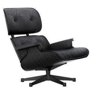 Vitra Lounge Chair Nojatuoli Musta Saarni Musta Nahka