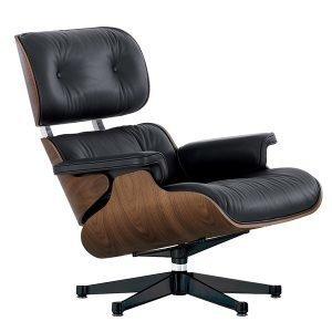 Vitra Lounge Chair Nojatuoli Pähkinä Musta Nahka