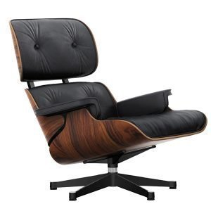Vitra Lounge Chair Nojatuoli Palisanteri Musta Nahka