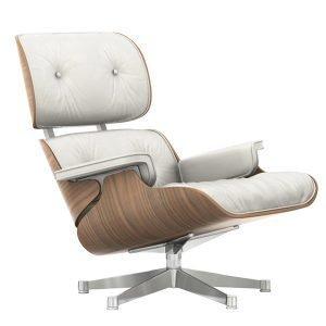 Vitra Lounge Chair Nojatuoli Valkolakattu Pähkinä Valkoinen Nahka