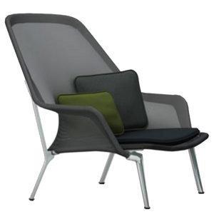 Vitra Slow Chair Nojatuoli Musta Alumiini