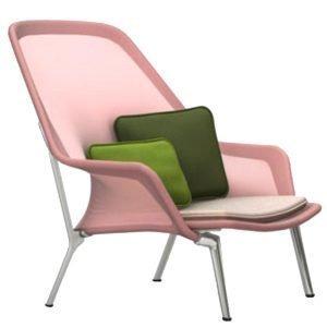Vitra Slow Chair Nojatuoli Punainen / Kerma Alumiini