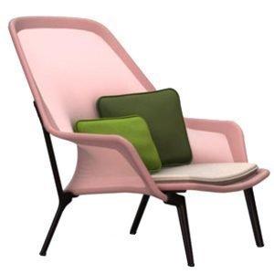Vitra Slow Chair Nojatuoli Punainen / Kerma Suklaanruskea