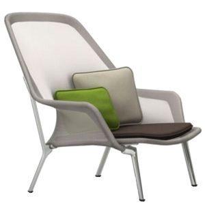 Vitra Slow Chair Nojatuoli Ruskea / Kerma Alumiini
