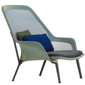 Vitra Slow Chair Nojatuoli Sininen / Vihreä Suklaanruskea