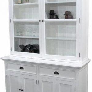 Vitriinikaappi Adele 6 ovea 2 laatikkoa mahonki valkoinen