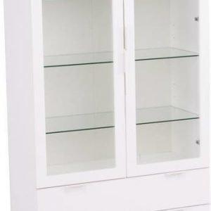 Vitriinikaappi Melissa 180x40x90 cm valkoinen/hopea