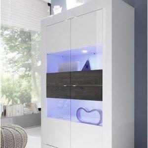 Vitriinikaappi Moderni 162x102x43 cm leveä valkoinen/wenge