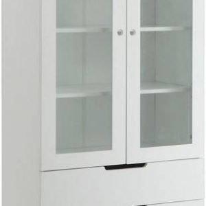 Vitriinikaappi Olavi 85x45x190 cm 2 ovea valkoinen/puu