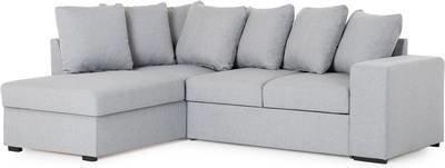 Vuodesohva Brita kolmen istuttava L-sohva vasen heittotyynyillä vaaleanharmaa