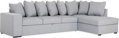 Vuodesohva Brita neljän istuttava L-sohva oikea heittotyynyillä vaaleanharmaa
