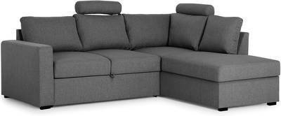 Vuodesohva Henrika kolmen istuttava L-sohva oikea tummanharmaa