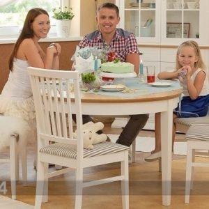 Wermo Jatkettava Ruokapöytä Family 105x165-215 Cm Valkoinen+Tammi